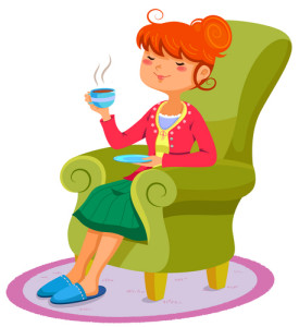 Lady In Armchair with Tea